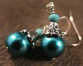 SALE Teal green swarovski crystal glass and silver handmade earrings