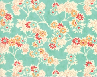 Chestnut Street - Twigs and Daisies in Blueberry: sku 20271-13 cotton quilting fabric by Fig Tree and Co. for Moda Fabrics - 1 yard