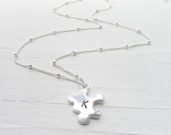Puzzle Necklace Sterling Silver Puzzle Piece Charm Personalized with Initial or Letter