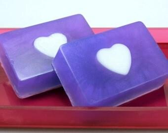 Blackberry Magnolia Glycerin Soap Bar, Purple Heart Soap, Handmade Soap