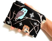 SALE Owls Little Zipper Pouch Coin purse ECO Friendly Padded NEW Shades of Owls on Black