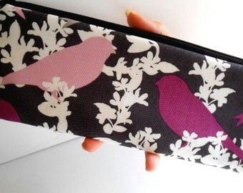 SALE Long  Zipper Pouch Cosmetic Bag Pencil Case ECO Friendly Padded Plum Finch