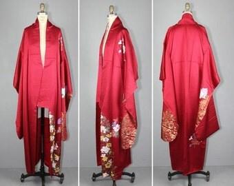 kimono sale / 1950s / vintage kimono / furisode / SOLAINA peony flower silk robe