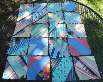 Vintage Paper Pieced Hand Sewn Quilt Squares from the 1930s to 1950s