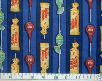 SUGAR DADDY TOOTSIE Roll Pop Blow Pops Fabric - Retired Rare Hard-To-Find Lollipop Candy Jar I Spy Quilts