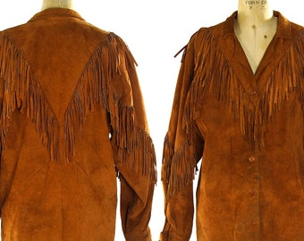 70s Suede Fringe Shirt / Vintage 1970s Fringed Leather Button Up Lightweight Jacket / Hippie Boho Bohemian Western Cowboy / Unisex S M L