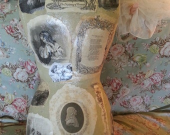 """Beautiful Shabby Chic repurposed decoupaged antique Victorian mannequin, old Victorian pictures with/without stand, 13"""" x 25"""", one of a kind"""