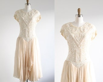 Vintage Oleg Cassini White Sequin & Silk Dress