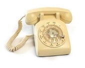 1984 Yellow Rotary Phone Vintage Rotelcom Telephone Made in Canada Light Butter Color