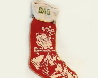 Dad Christmas Stocking, Vintage Stencilled Red Felt with Jingle Bells, Santa and Reindeer, Merry Christmas