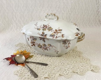 Haviland & Co Limoges Large Soup Tureen, Gray and Yellow Flowers with Gold Trim, Vintage Covered Vegetable Bowl