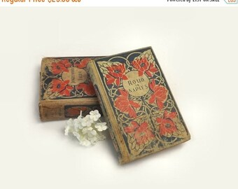 2 Antique Books with Red & Blue Floral Cloth Cover, Tanglewood Tales, Rollo in Naples, Instant Library Collection, Wedding Table Decor