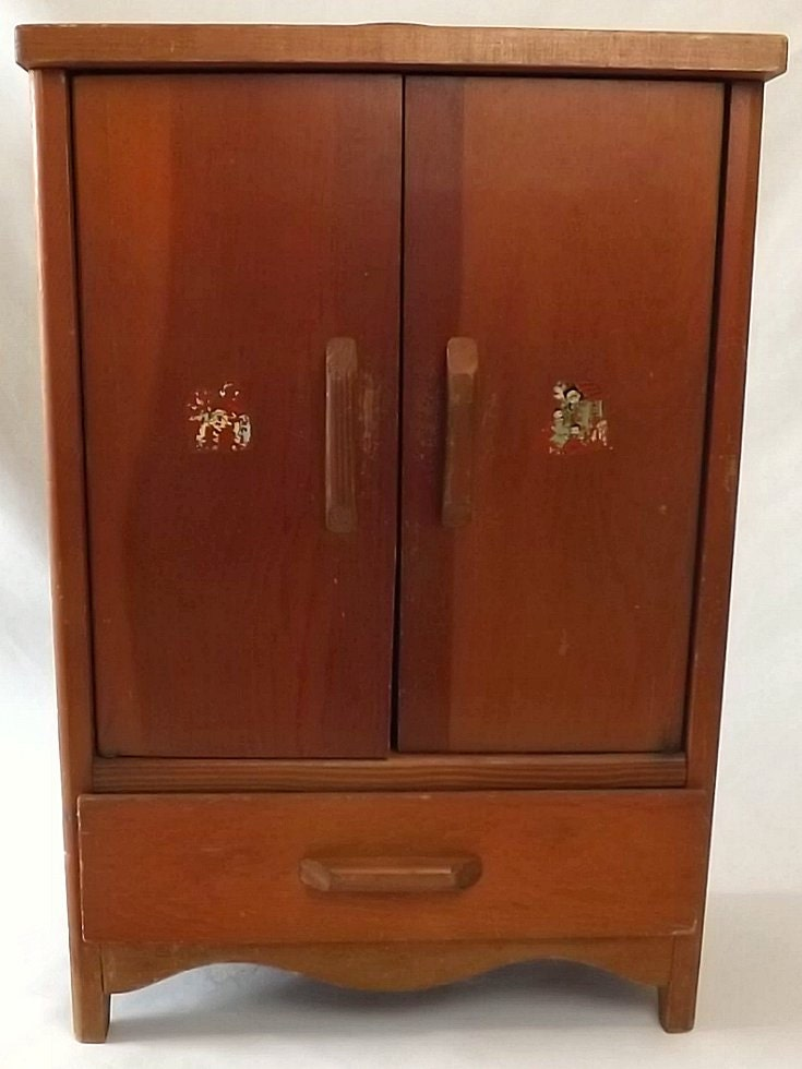 On hold vintage wooden doll armoire toy wardrobe furniture