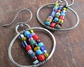 Tribal Dangling Earrings Silver African Trade Bead Earrings Boho Silver Jewelry Colorful Silver Dangle Earrings Multicolor Hippie Jewelry