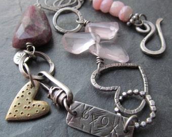 Charm Bracelet, Pink Gemstone Bracelet, Charm Bracelet Sterling Silver, Silver Artisan Jewelry, Wife Gift for Her Artisan Bracelet Love Gift
