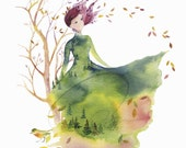 Fallen Leaves - Watercolor Art Giclee Print Fashion Sketch design Autumn Spirit lady Woman Nature Watercolor Available in Paper and Canvas