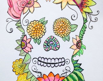 Doodle Colorful Sugar Skull with Sunflower Rose Marigold Dia de los Muertos Illustration