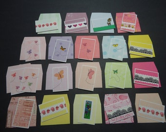 20 mixed mini cards with envelopes, mini notecards, shop thank you cards, mixed lot cards, assorted shop notecards, tiny notecards, lot B