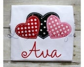 Triple Heart Valentine ~ Black ~ Pink ~ Red ~ Tshirt ~ Tee ~ Bodysuit ~ Personalized ~ Monogrammed ~ Applique ~ Valentine's Day ~ Polka Dot