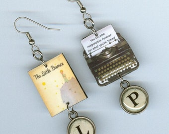 Book  Cover Earrings - The Little Prince Quote - Typewriter jewelry - asymmetrical earring Designs by Annette - Literary reader student gift