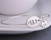 Half Marathon Bracelet, Athletic Jewelry, Gift for Runner, 13.1 Bangle Bracelet, Simple Athletic Jewelry