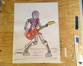 Guitar Playing Robot Hand Embellished Original Artwork 18 x 24 inches