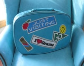 Vintage Kids Blue Vinyl Suitcase Retro 70s Luggage Weekend Bag Overhead Travel Case