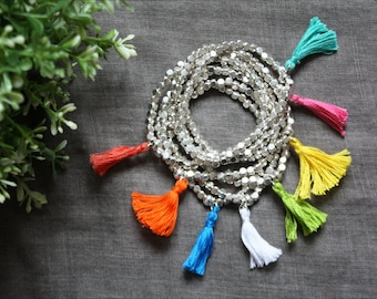 Sienna bracelet, metallic beads and hand knotted cotton tassel, available in 8 colours