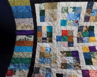 Scrap lap quilt. Throw quilt. Lap quilt.