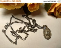 Holiday Sale Art Deco 1950s Saint Jude St Michael Silver Long Chain Religious Medal Necklace Italy