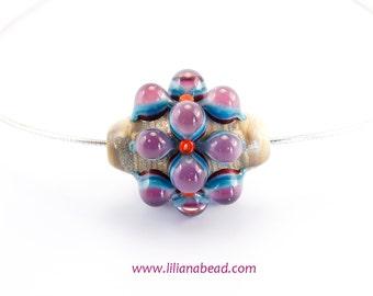 Ancient Berry Flower Necklace: Lampwork Art Glass Bead.