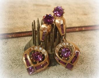 vintage ORA rhinestone earrings circa 1940s screw backs gold with crystal and amethyst rhinestones