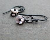 Tiny Pink Flower Earrings Mother of Pearl Earrings Shell Earrings Sterling Silver Earrings Petite Earrings Minimalist Earrings