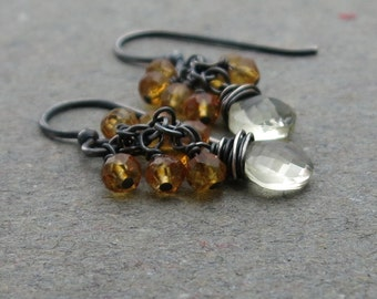 Citrine Earrings Yellow Gemstone Cluster Oxidized Sterling Silver November Birthstone Gift for Wife