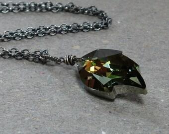 Crystal Leaf Necklace Leaf Pendant Oxidized Sterling Silver Necklace