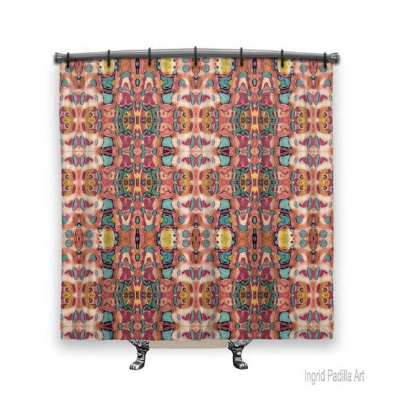 BOHO Shower Curtain, Shower curtain, Artsy shower curtain, Boho curtain, Funky, Fabric shower curtain, Bath Decor, boho Decor