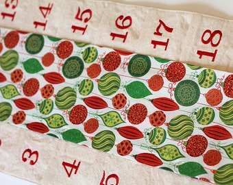 Vintage glass ornaments Christmas Advent Calendar. Holiday Count down Vertical wall hanging with treat pockets. Cotton and Steel fabrics