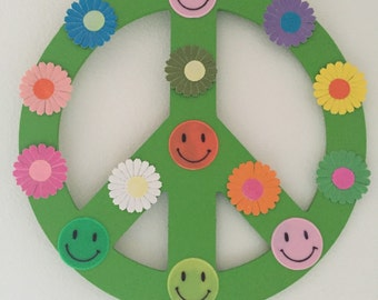 Hippie Kitsch Peace Sign Hanger Vintage Daisies and Vintage Smiley Faces Cute
