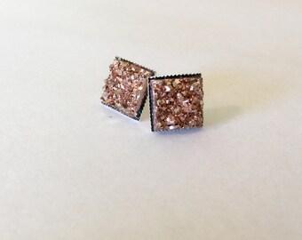 Rose gold square druzy earrings-bridesmaids, bride or prom earrings