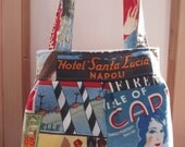 Linen Pleated Handbag Purse Ipad Netbook Tote Retro Italian Poster Venice Italy Milan Capri