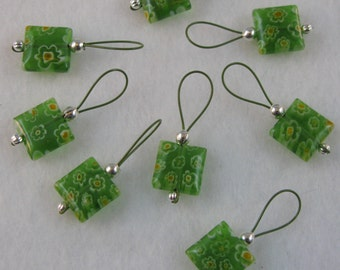 Green Glass Millefiori Stitch Markers on Khaki Colored Wire - US 10 - Item No. 861