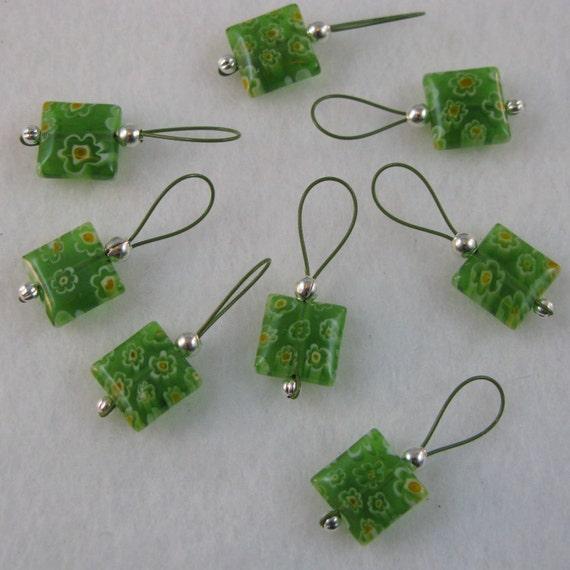Green Glass Millefiori Stitch Markers on Khaki Colored Wire - US 10 - Item No. 861