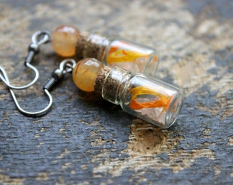 Energized Earrings - Agate Mini Bottle Spell Jar Crystals Dried Flowers