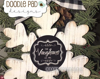 Personalized Snowflake Ornament, Rustic First Christmas Ornament