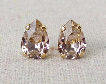Swarovski Blush Pink Crystal Tiny Teardrop Rhinestone Pear Rose Gold Post Earrings Bridal Jewelry Bridesmaids Presents Gifts Flowergirl