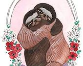 Art Print - Sloth Art Print - Sloth Art - 8x10 Sloth Print - Sloth Hugs - Animal Art - Sloths Hugging - Sloths Hugs