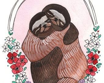 Art - Print - Sloths - Sloth Art Print - Sloth Art - 8x10 Sloth Print - Sloth Hugs - Animal Art - Sloths Hugging - Sloths Hugs