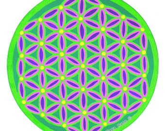 Cosmic Circle, Flower of Life, Mandala, Sacred Geometry, Window Cling, Sun catcher, Removable Sticker, Transparent, Colorful, Best Gift Ever