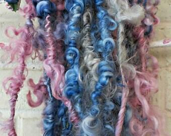 Handspun Art Yarn - Pink, Blue, Gray Curly Yarn - Super Bulky Cotswold Wool Yarn - OOAK Fiber Art Yarn -  Sweet Baby Sue