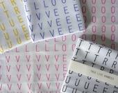 True Love screenprinted typographic handkerchiefs - set of two